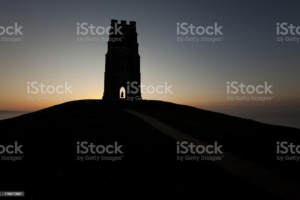 Glastonbury Tor at sunrise stock photo