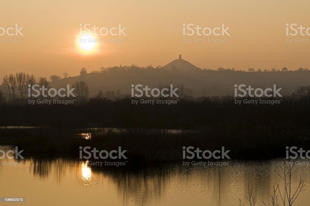 Glastonbury Tor England at sunset royalty-free stock photo