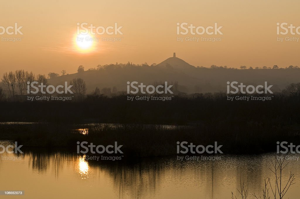 Glastonbury Tor England at sunset stock photo