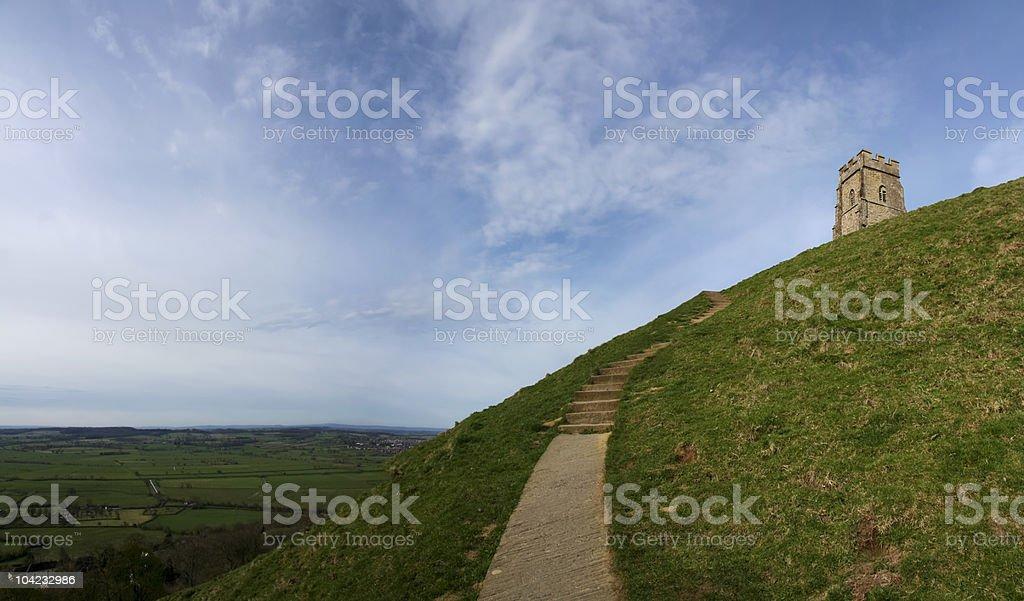 glastonbury tor somerset countryside royalty-free stock photo