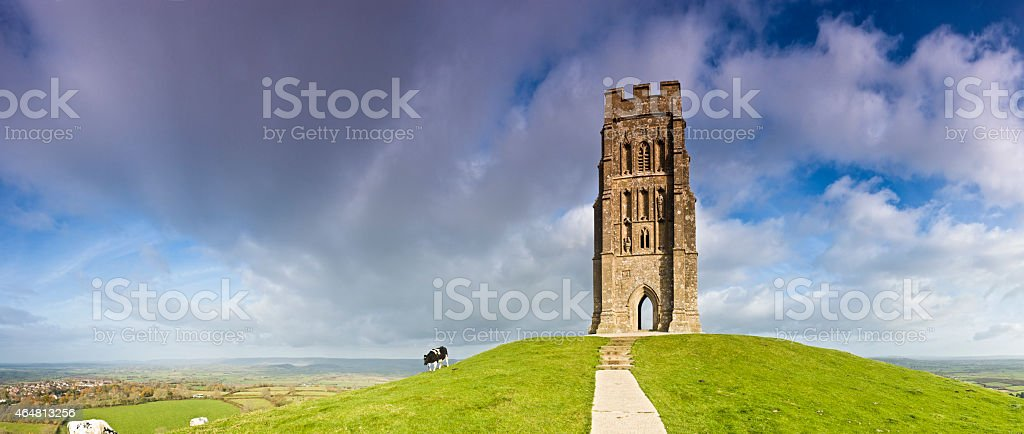 Glastonbury Tor tower high above the Somerset Levels England UK stock photo