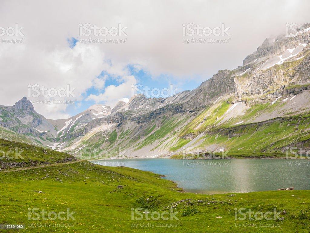 Glattalpsee (lake) and Ortstock stock photo