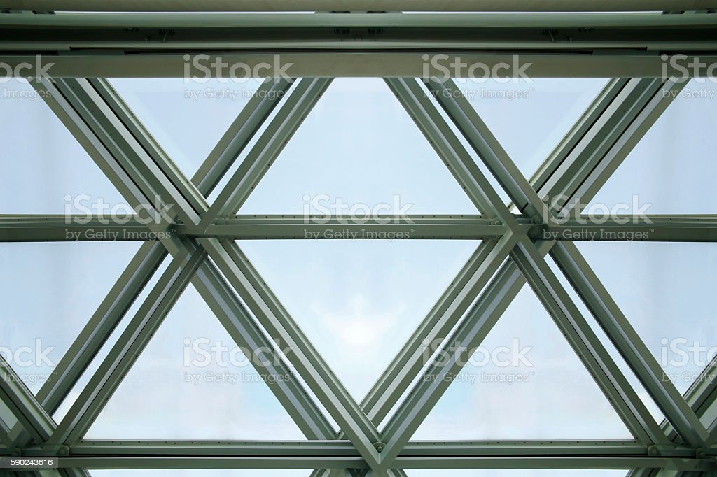 Glazed aluminum structure of modern office building. Double exposure photo stock photo