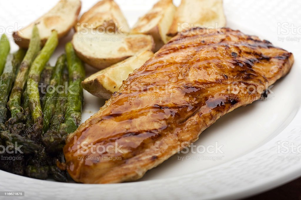 Glazed and Grilled Salmon royalty-free stock photo