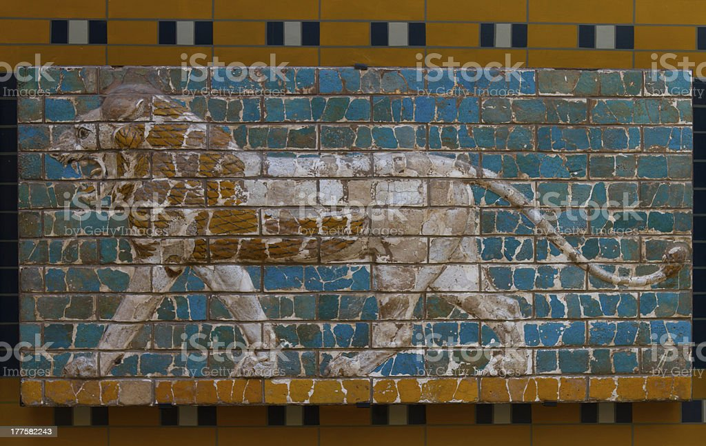 Glazed brick panel from way to Ishtar Gate stock photo