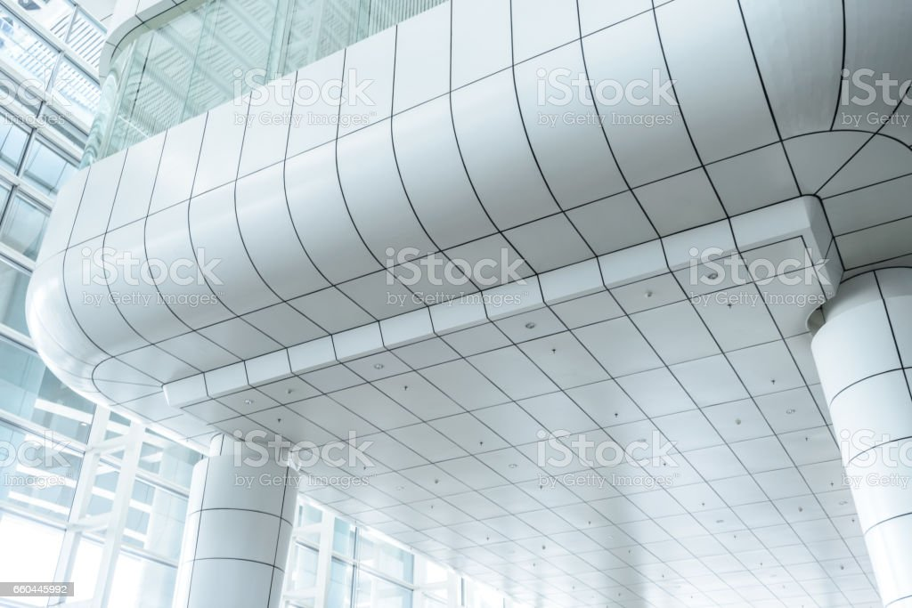 glazed ceiling upside in blue colors toned stock photo