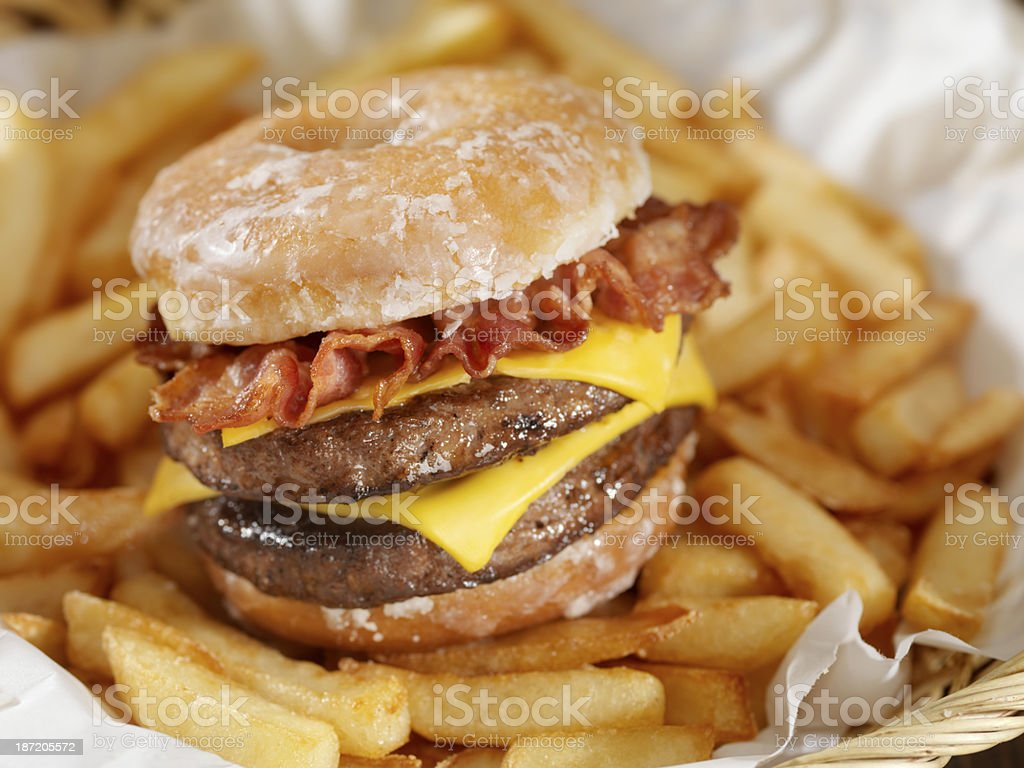Glazed Donut Bacon Cheeseburger stock photo