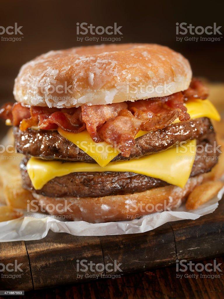 Glazed Donut Bacon Cheeseburger stock photo
