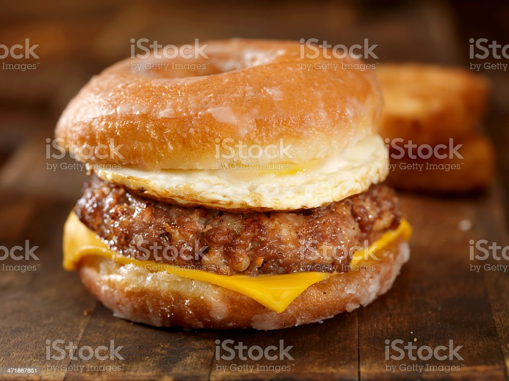 Glazed Donut Breakfast Sandwich royalty-free stock photo