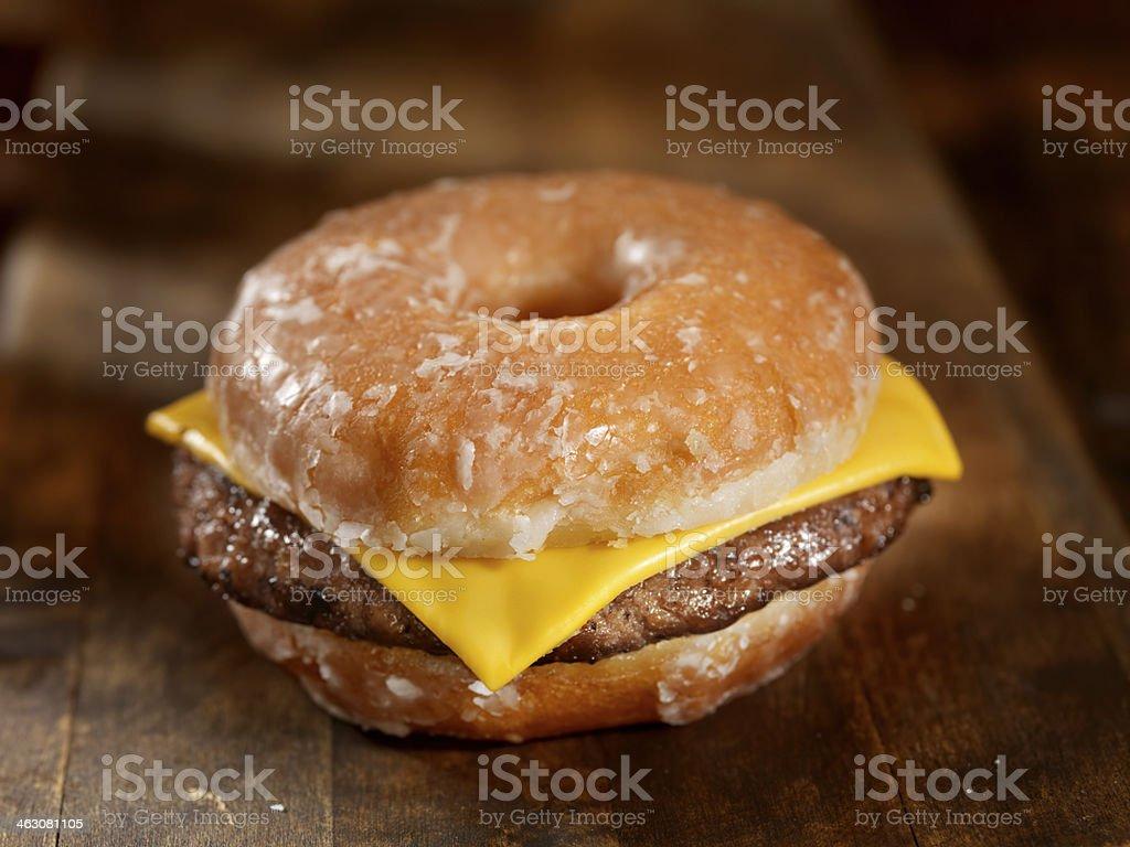 Glazed Donut Cheeseburger stock photo