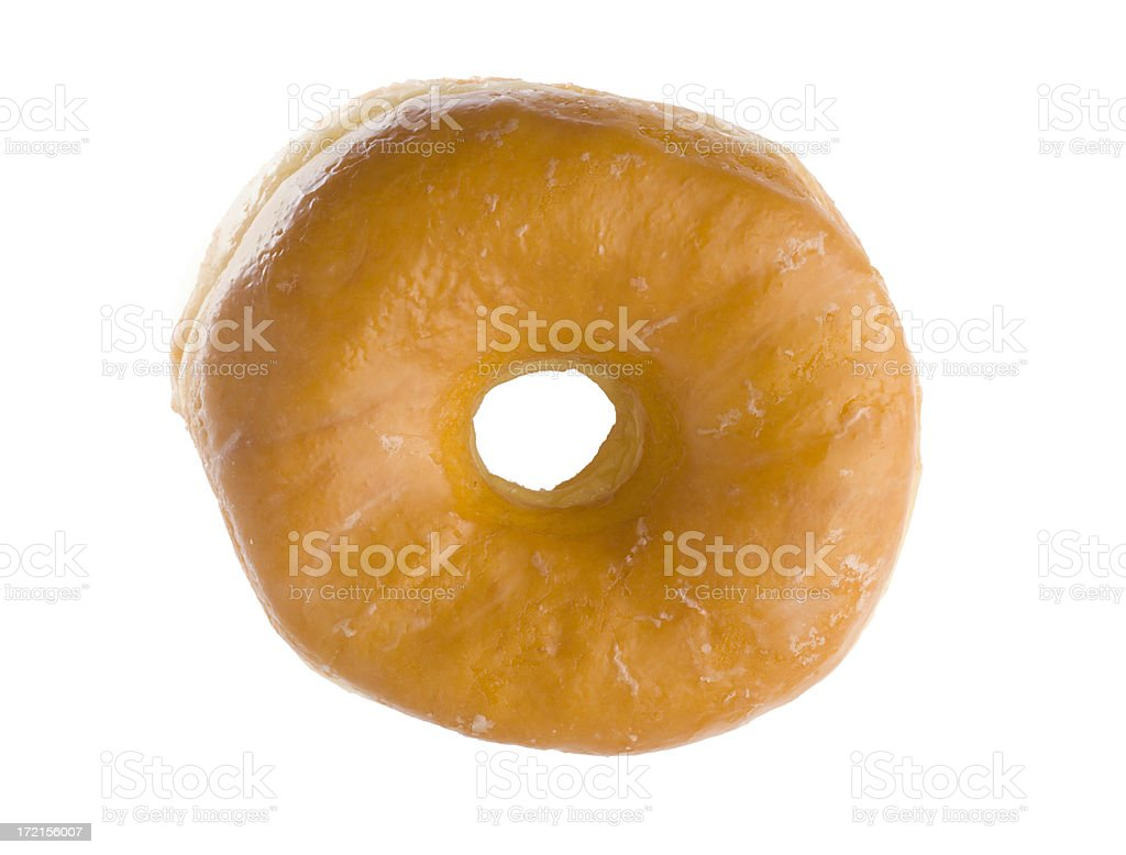Glazed Donut, Unhealthy, Sugary Baked Pastry Breakfast Food on White royalty-free stock photo