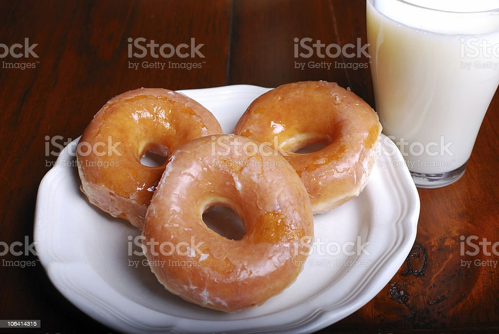 Glazed Donuts and Milk royalty-free stock photo
