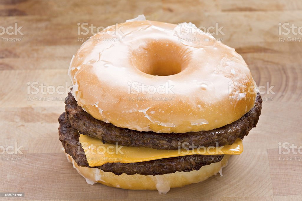 Glazed Doughnut Cheeseburger stock photo