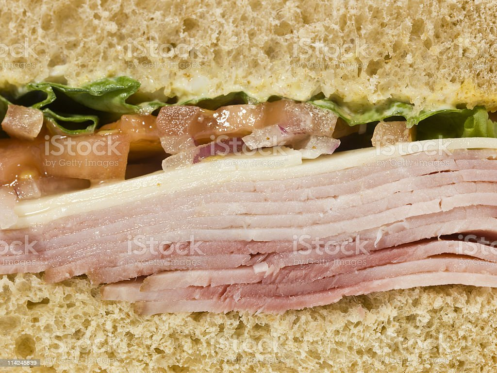 Glazed Ham and Cheese Sandwich close up royalty-free stock photo