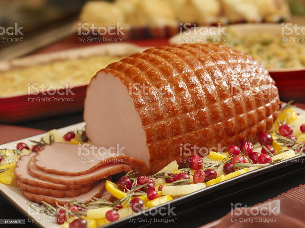 Glazed Ham Dinner stock photo