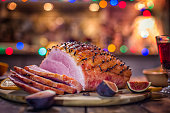 Glazed Holiday Ham with Cloves Served for Dinner