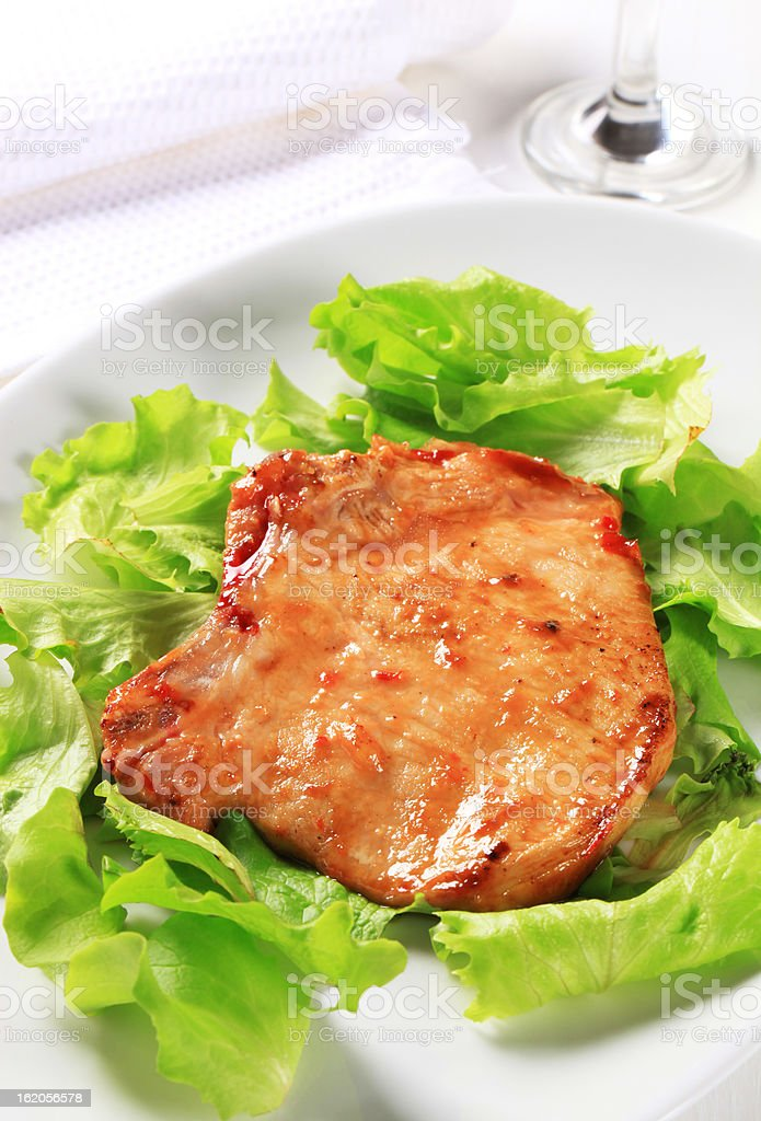 Glazed pork chop royalty-free stock photo