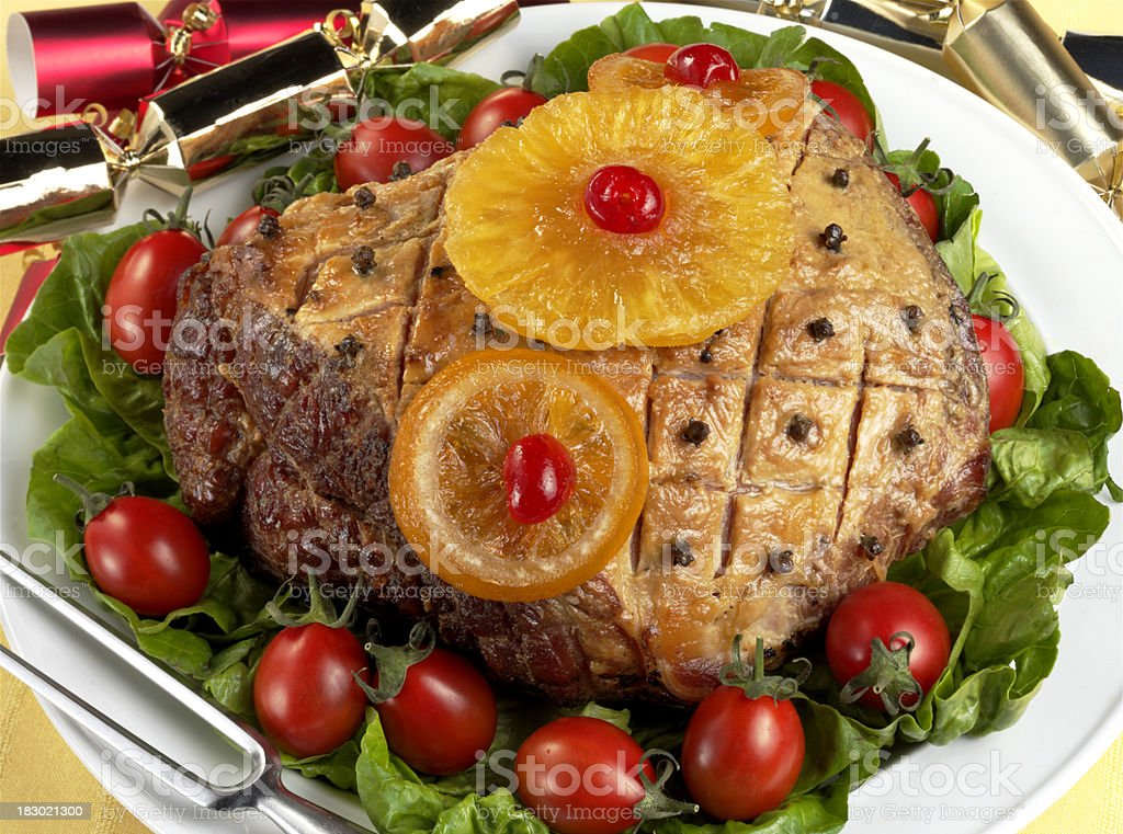 Glazed Roast Ham royalty-free stock photo