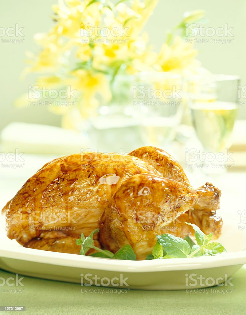 Glazed Roasted Chicken royalty-free stock photo