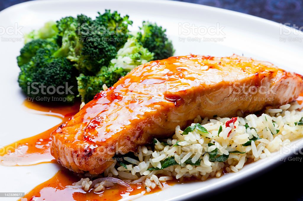 Glazed Salmon stock photo