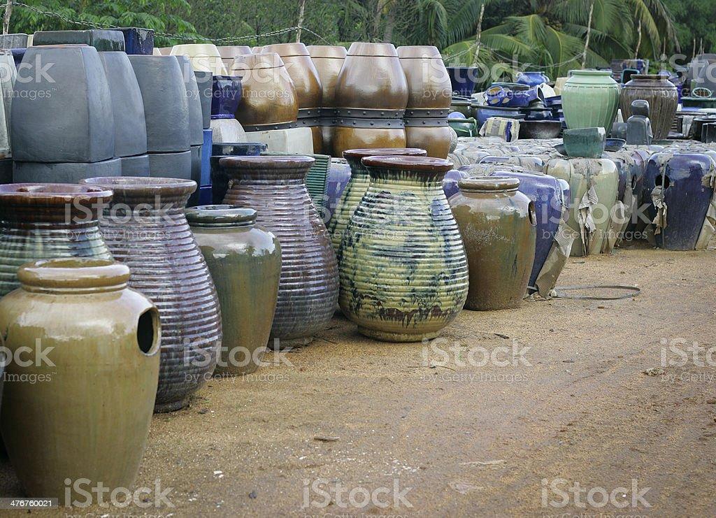 Glazed terracotta pots from Vietnam royalty-free stock photo