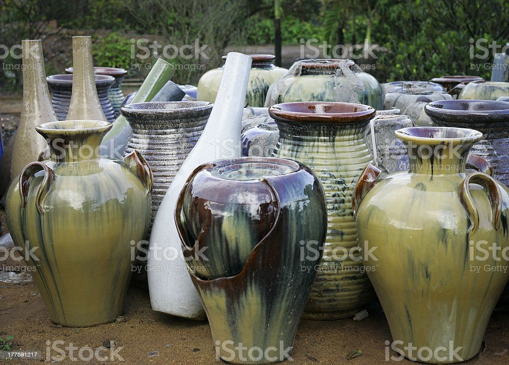 Glazed terracotta pots with colorful textures unique from Vietnam royalty-free stock photo