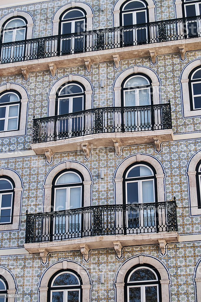 Glazed tile facade and balconies royalty-free stock photo