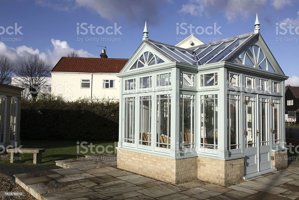 Glazed Victorian summer house or gazebo stock photo
