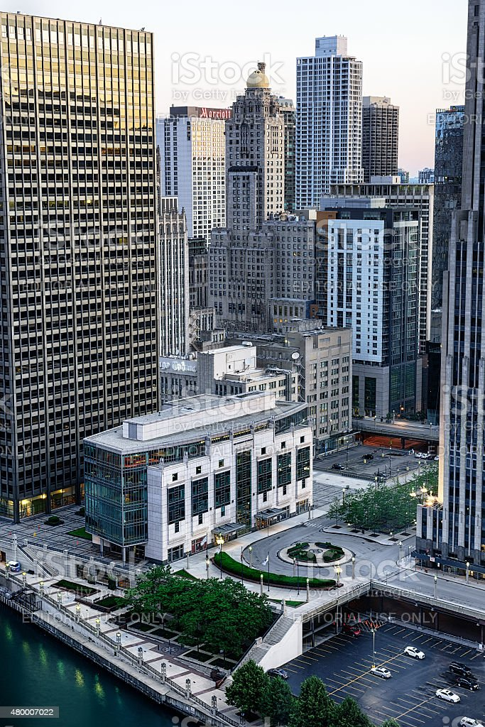 Gleacher Center from above, downtown Chicago at dusk. stock photo