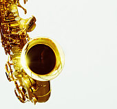 Gleaming golden bell of shiny alto sax