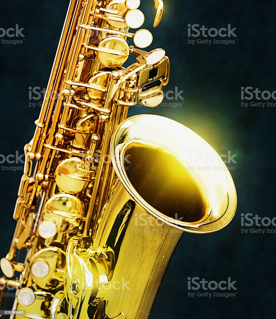 Gleaming golden saxophone in close up stock photo