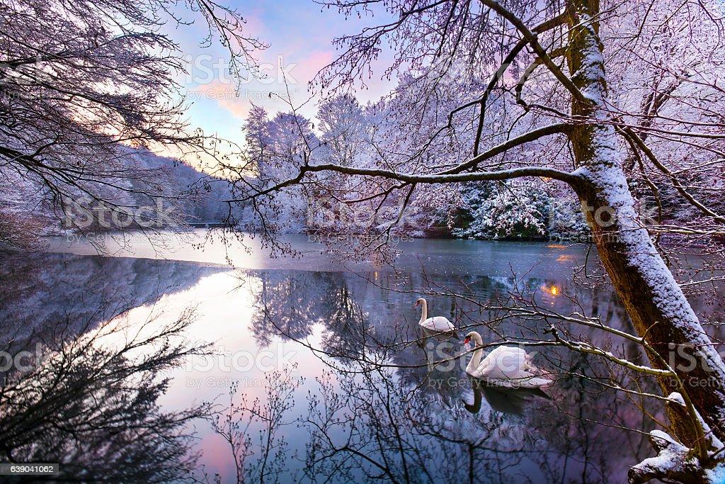 Gledhow Lake in Winter stock photo