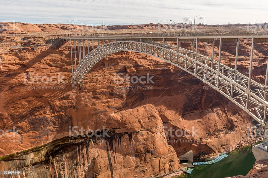 Glen Canyon Dam and Bridge at Page, Arizona stock photo