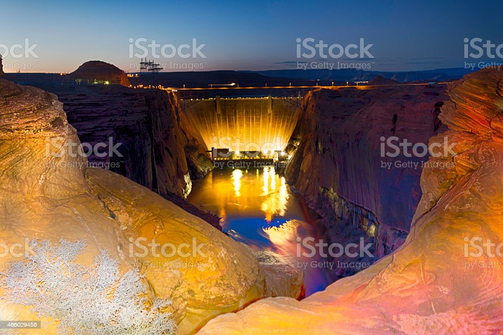 Glen Canyon Dam At Night stock photo