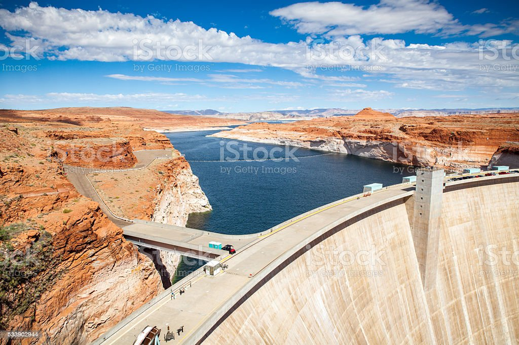 Glen Canyon Dam, & Low Water Levels In Lake Powell royalty-free stock photo