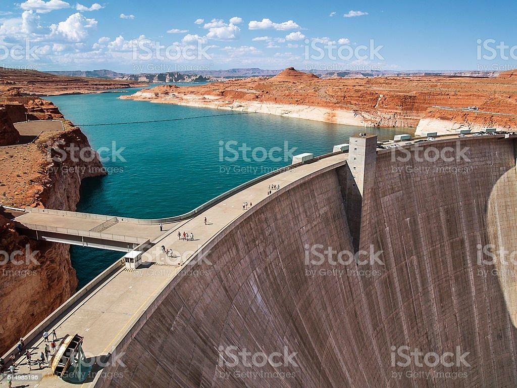 Glen Canyon dam on the Colorado River stock photo