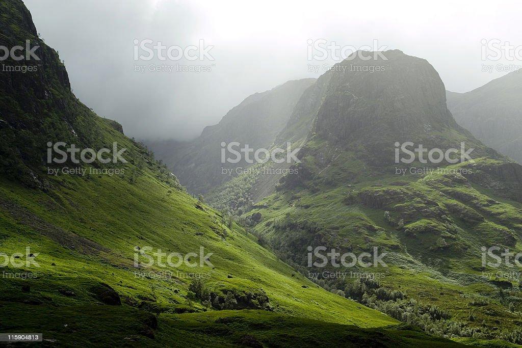 Glencoe pass on a misty day stock photo