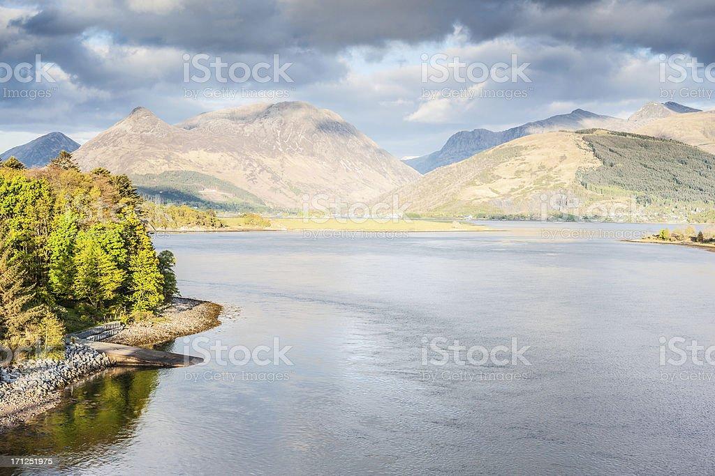 Glencoe, Scotland, from Loch Leven stock photo