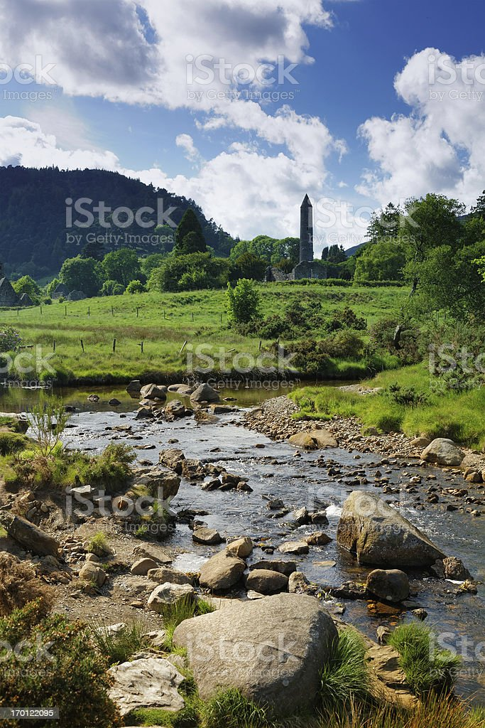 Glendalough creek with the old monastic site stock photo