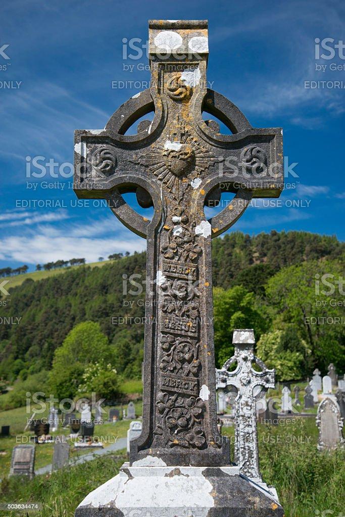 Glendalough, Ireland. A Cross stock photo