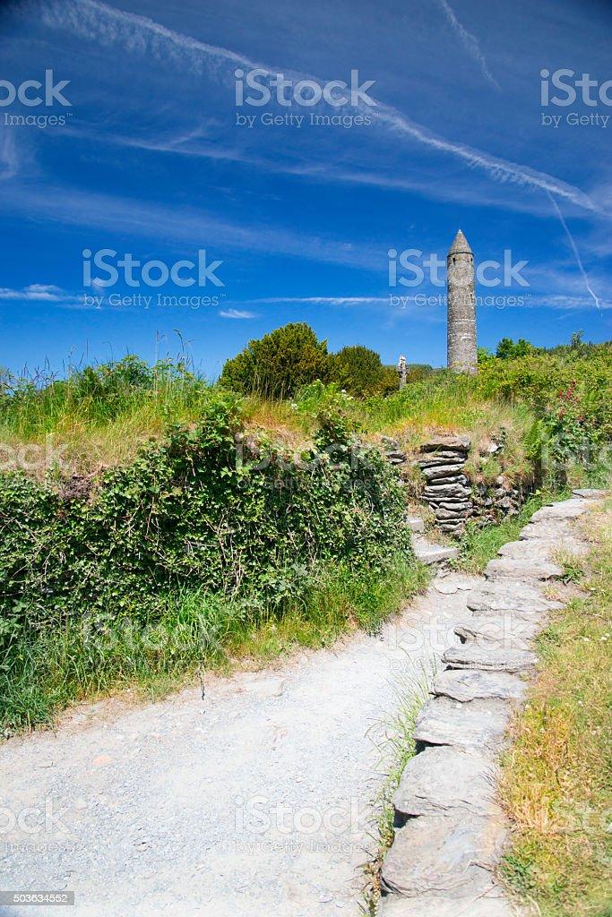 Glendalough, Ireland. Monastic Tower stock photo