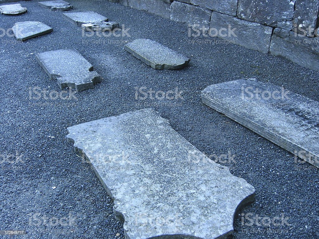 Glendalough - Row of Grave Stones royalty-free stock photo