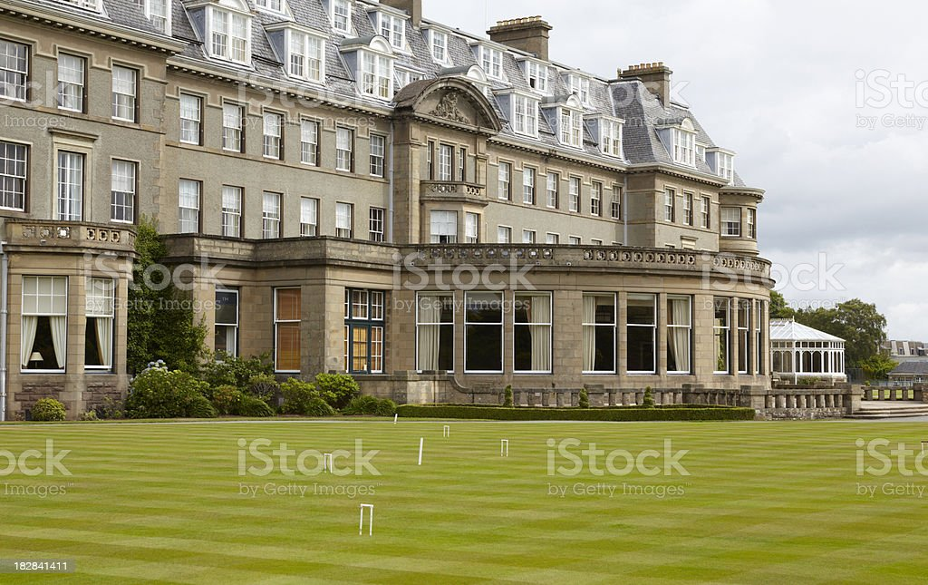 Gleneagles Hotel and croquet lawn stock photo