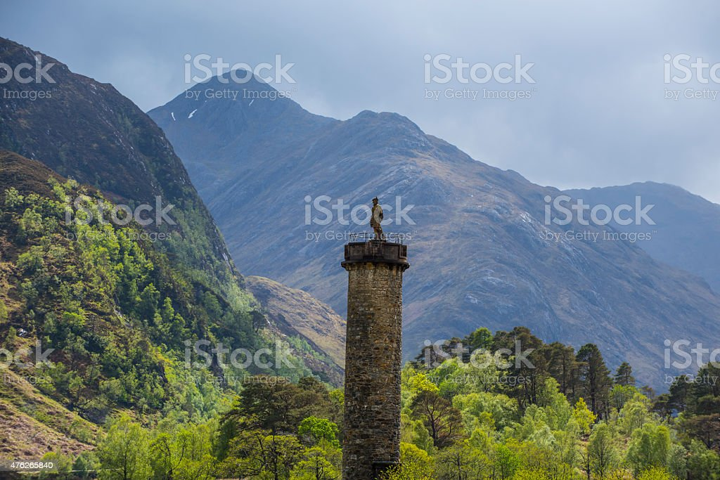 Glenfinnan Monument in the Highlands of Scotland stock photo