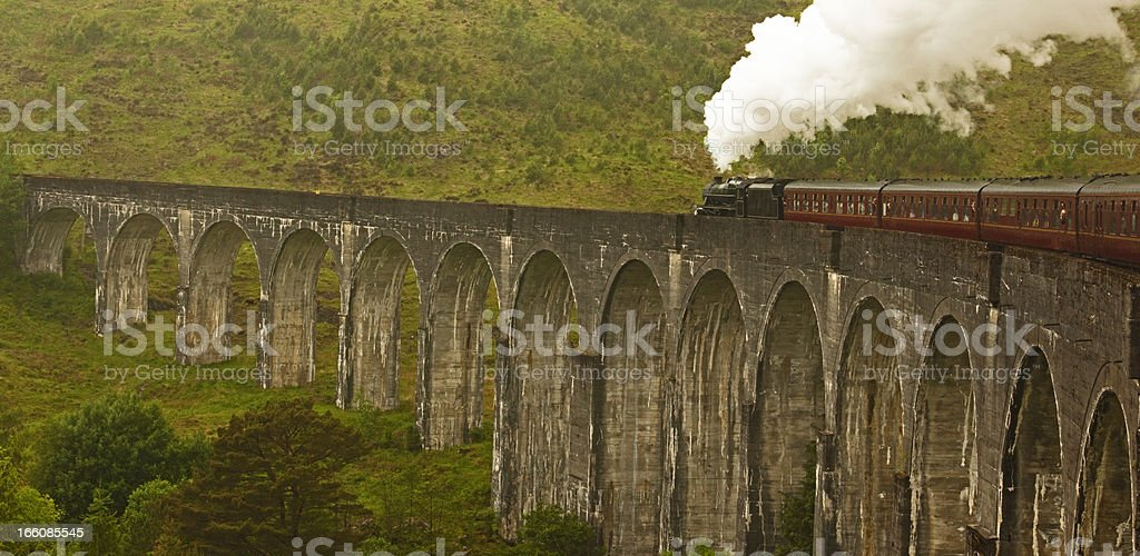 Glenfinnan Viaduct and steam train stock photo