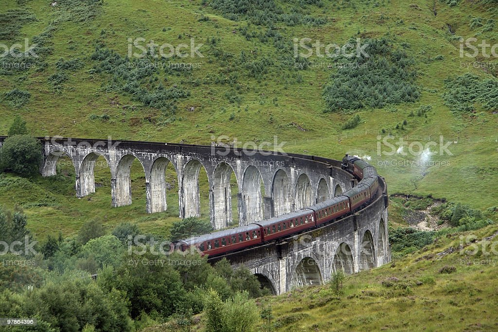 Glenfinnan Viaduct in green anbiance royalty-free stock photo