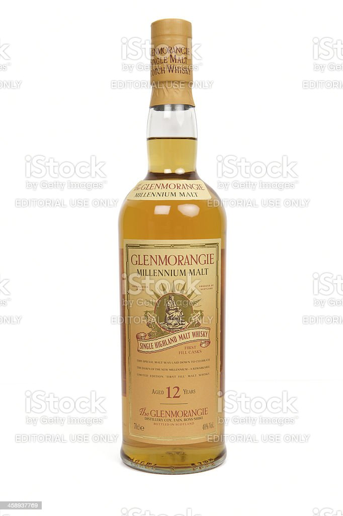 Glenmorangie limited edition Millenium Malt Whisky bottle on white background stock photo