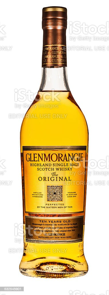 Glenmorangie scotch whisky bottle isolated on white stock photo