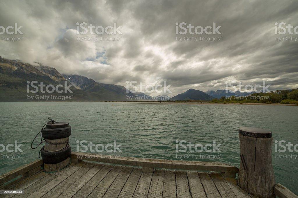 Glenorchy's jetty on lake Wakatipu, New Zealand stock photo