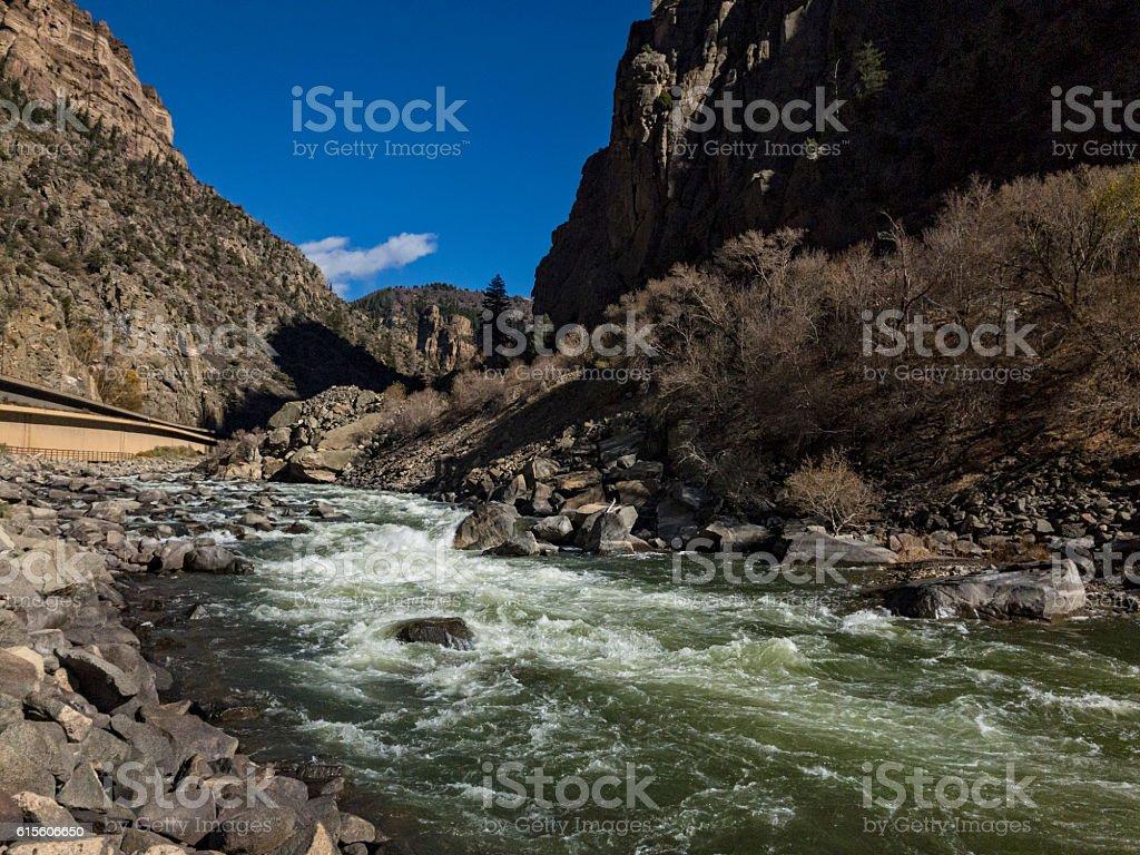 Glenwood Canyon and Whitewater Rapid stock photo